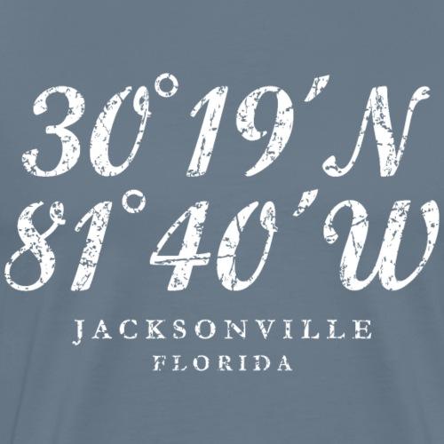 Jacksonville, Florida Coordinates (Ancient White) - Men's Premium T-Shirt