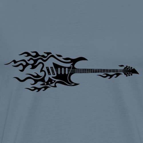 Electric Guitar Fire Illustration - Men's Premium T-Shirt