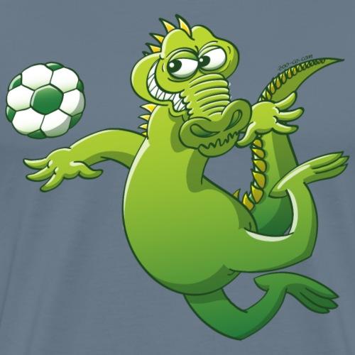 Crocodile Heading a Soccer Ball - Men's Premium T-Shirt