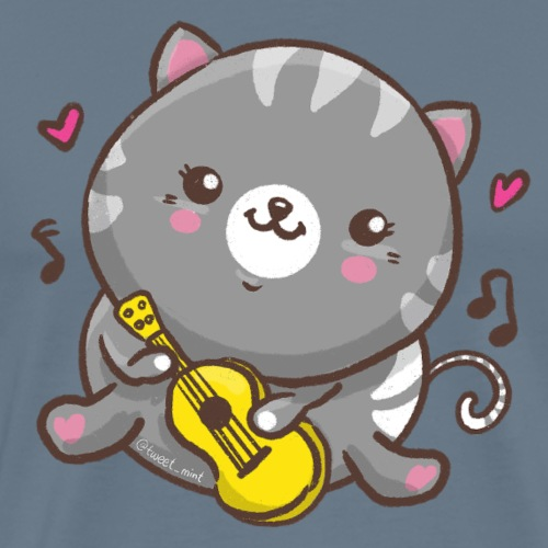 Kawaii Cat Ukulele - Men's Premium T-Shirt