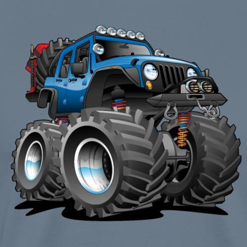 Off road 4x4 blue jeeper cartoon - Men's Premium T-Shirt
