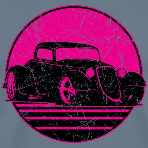 Retro Hot Pink Hot Rod Grungy Sunset Illustration - Men's Premium T-Shirt