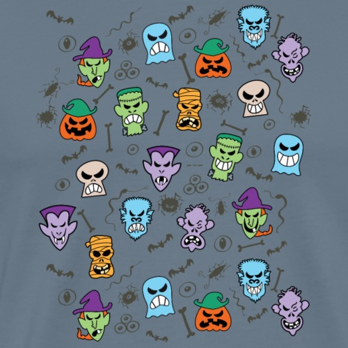 Halloween characters making funny faces pattern - Men's Premium T-Shirt