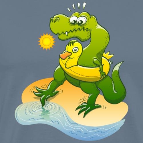 Tyrannosaurus Rex dipping toe in water - Men's Premium T-Shirt