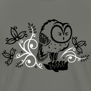 Owl with flowers and leaves. - Men's Premium T-Shirt