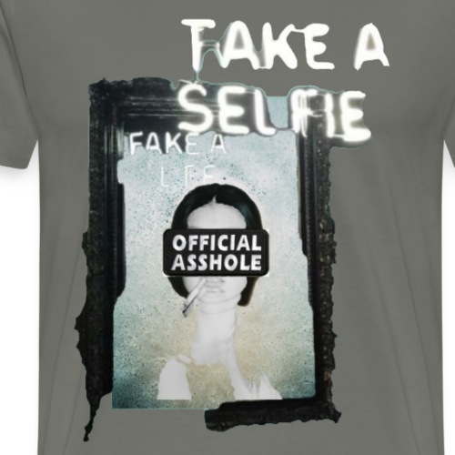 BORDERLESS TAKE A SELFIE FAKE A LIFE OA WITH WOMAN - Men's Premium T-Shirt