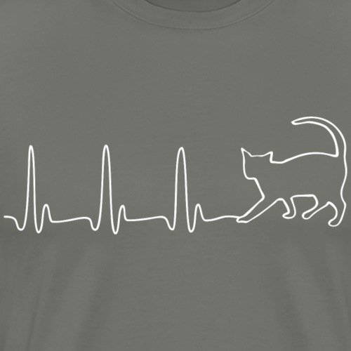 EKG HEARTBEAT CAT white - Men's Premium T-Shirt