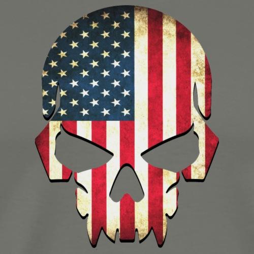 Weathered American Flag Skull - Men's Premium T-Shirt