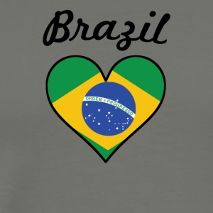 Brazil Flag Heart - Men's Premium T-Shirt