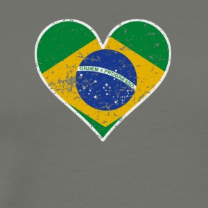Distressed Brazilian Flag Heart - Men's Premium T-Shirt