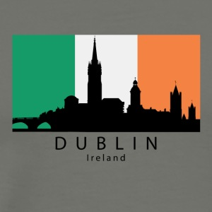Dublin Ireland Skyline Irish Flag - Men's Premium T-Shirt