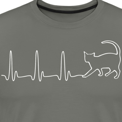 EKG HEARTBEAT CAT white - Men's Premium T-Shirt