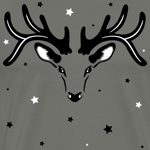 Reindeer silhouette with stars and antler. - Men's Premium T-Shirt