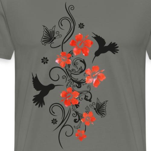 Hummingbird with hibiscus, floral - Men's Premium T-Shirt