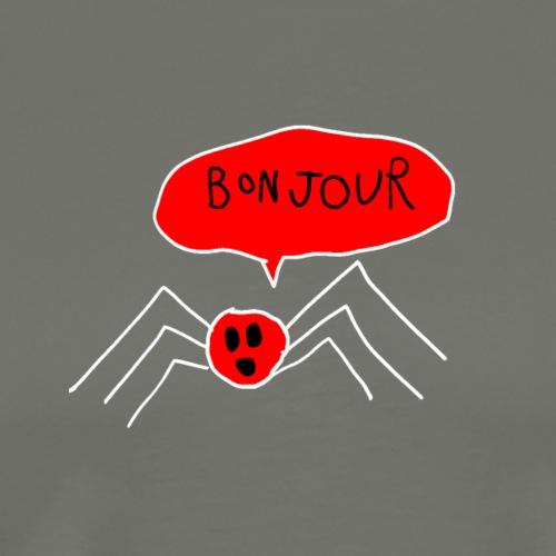 Bonjour Spider, White Outline (tshirts) - Men's Premium T-Shirt