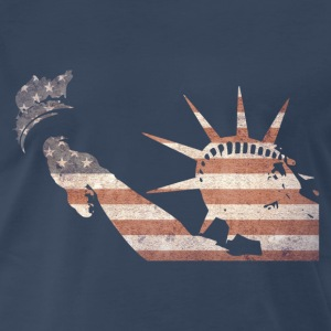 Liberty statue silhouette filled with america flag - Men's Premium T-Shirt