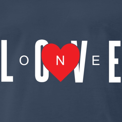 One Love w/ A Red Heart (White Letters) - Men's Premium T-Shirt