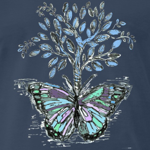 Tree and Butterfly - by Fanitsa Petrou - Men's Premium T-Shirt