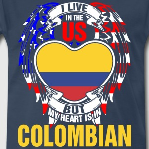 I Live In The Us But My Heart Is In Colombian - Men's Premium T-Shirt