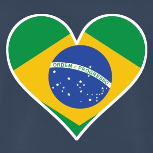 Brazilian Flag Heart - Men's Premium T-Shirt