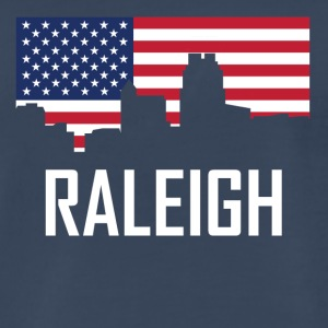 Raleigh North Carolina Skyline American Flag - Men's Premium T-Shirt
