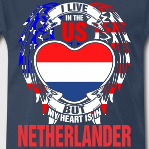 I Live In The Us But My Heart Is In Netherlander - Men's Premium T-Shirt