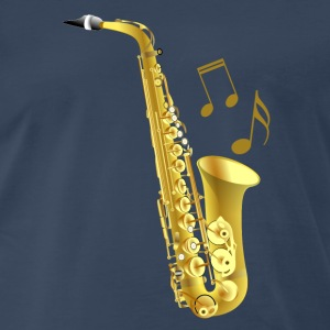 Saxophone with music notes - Men's Premium T-Shirt