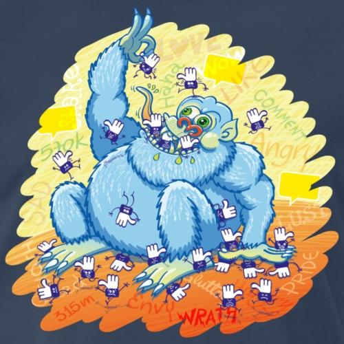 Voracious social networks' monster gobbling likes - Men's Premium T-Shirt