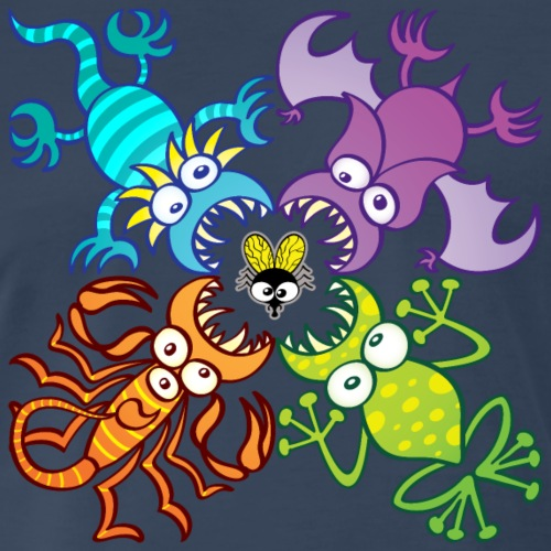 Bat, lizard, scorpion and frog stalking a poor fly - Men's Premium T-Shirt