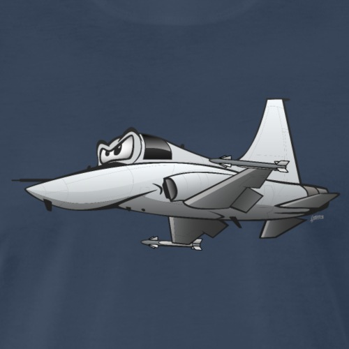 Military Fighter Jet Airplane Cartoon - Men's Premium T-Shirt