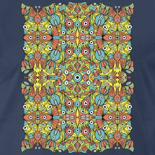 Odd creatures multiplying in a symmetrical pattern - Men's Premium T-Shirt
