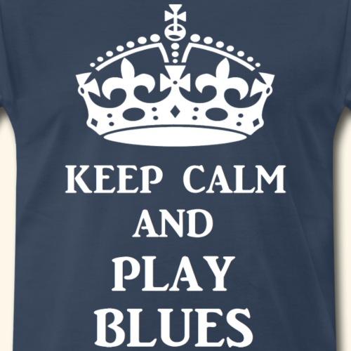 keep calm play blues wht - Men's Premium T-Shirt