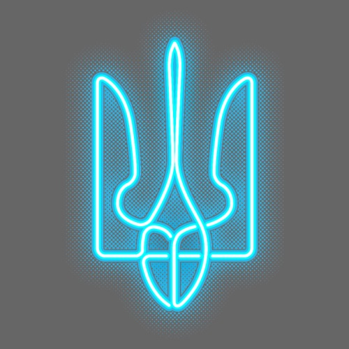 neon tryzub blue - Men's Premium T-Shirt