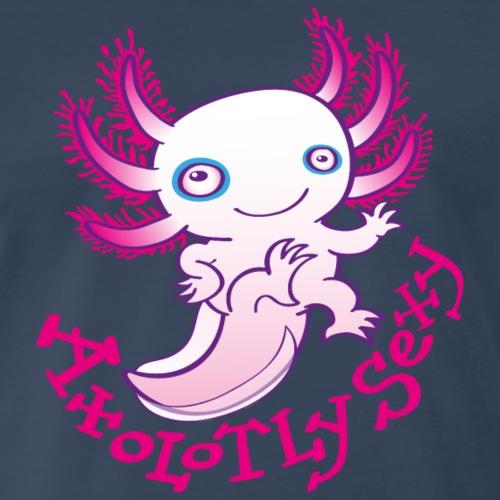 Cute funny axolotl posing, waving and smiling - Men's Premium T-Shirt