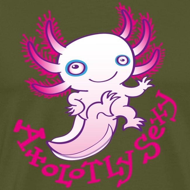 Cute funny axolotl posing, waving and smiling