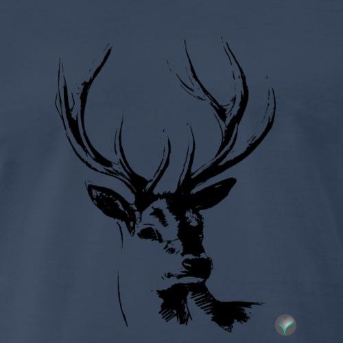 T Shirt 03 Cerf Deer Black - Men's Premium T-Shirt