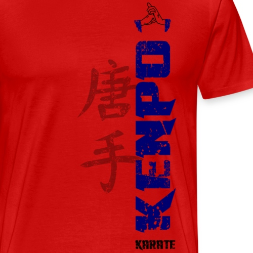 vertical kenpo with chinese kanji blue - Men's Premium T-Shirt
