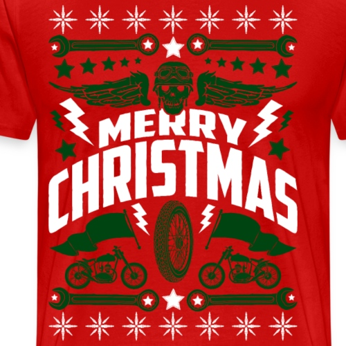 Motorcycle Biker Skull Ugly Christmas Sweater - Men's Premium T-Shirt