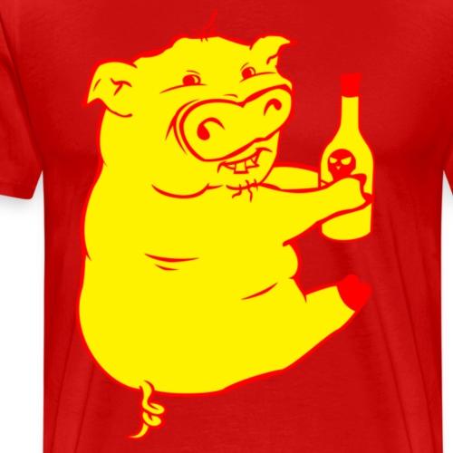 Poison Pig - Yellow & Red - Men's Premium T-Shirt