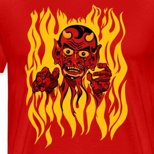 Scary Halloween Vintage Devil Tattoo Design - Men's Premium T-Shirt