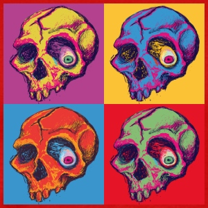 Rotten Skull Four Color Square - Men's Premium T-Shirt