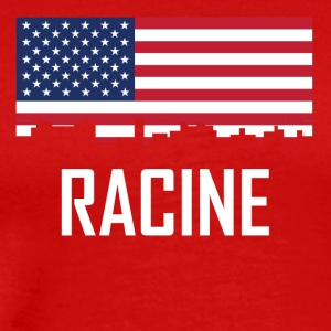 Racine Wisconsin Skyline American Flag - Men's Premium T-Shirt