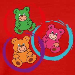 three teddybears in circles - Men's Premium T-Shirt