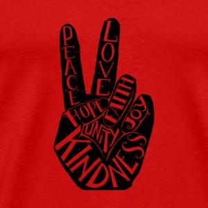 Peace Sign with words Peace Love Faith - Men's Premium T-Shirt
