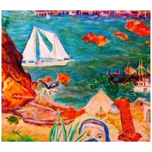 Southern Italian Coastal Marina-North African View - Men's Premium T-Shirt