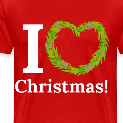 I Love Heart Christmas - Xmas Wreath Design! - Men's Premium T-Shirt