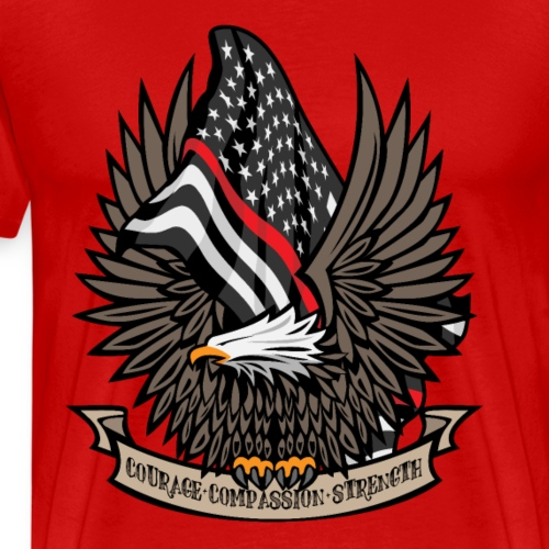 Firefighter/EMT Thin Red Line Flag and Eagle - Men's Premium T-Shirt