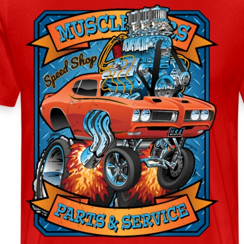 Classic Sixties Muscle Car Parts & Service Cartoon - Men's Premium T-Shirt