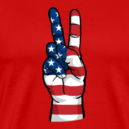 hand peace sign USA T small - Men's Premium T-Shirt
