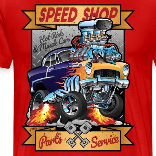 Speed Shop Hot Rod Muscle Car Cartoon Illustration - Men's Premium T-Shirt